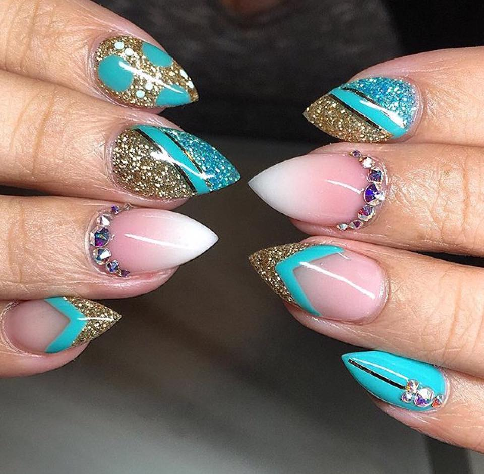 Turquoise and French Ombre - Nail X